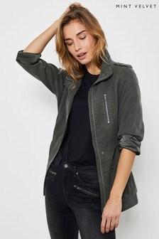 Mint Velvet Khaki Studded TENCEL™ Jacket