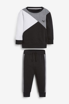 Black/White Colourblock Crew And Joggers Set (3mths-7yrs)