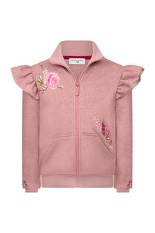 Girls Pink Glittery Rose Zip Up Top