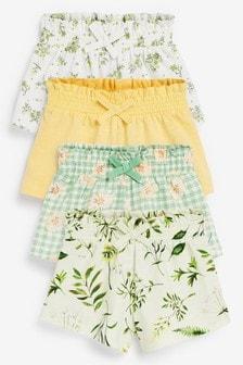 Sage Floral 4 Pack Organic Cotton Shorts (3mths-7yrs)