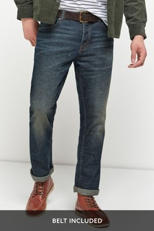 Blue Vintage Wash Bootcut Fit Belted Jeans With Stretch