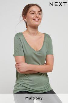 Khaki Green Womens Slouch V-Neck T-Shirt