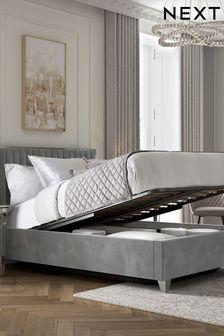 Opulent Velvet Steel Portia Opulent Velvet Steel Ottoman Storage Bed