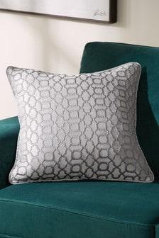 Silver Grey Woven Geo Jacquard Square Cushion