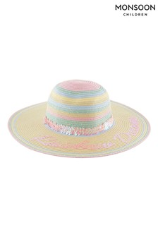 Monsoon Natural Rainbow Dreams Sequin Floppy Hat