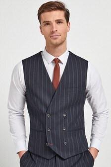 Navy Striped Suit: Waistcoat