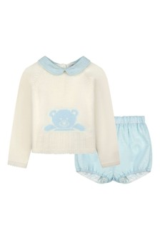 Baby Boys Ivory/Blue Romper Suit