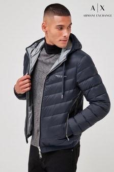 Armani Exchange Navy Hooded Padded Jacket