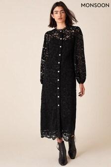Monsoon Black Francesca Flocked Lace Shirt Dress