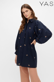 Y.A.S Navy Organic Cotton Floral Embriodered Lomana Dress