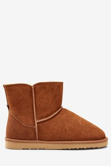Chestnut Suede Slipper Boots