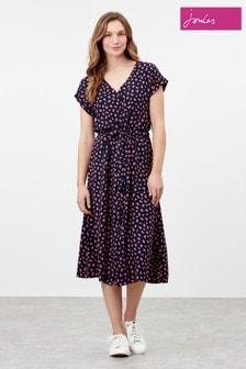 Joules Blue Yasmine Button Through V-Neck Dress
