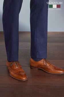 Tan Signature Italian Leather Wing Cap Brogues
