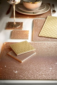 Set of 4 Gold Glitter Reversible Placemats And Coasters