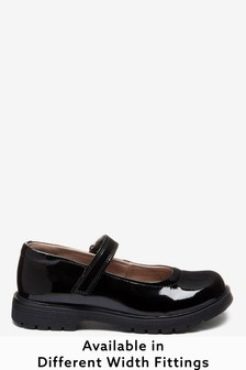 Black Patent Standard Fit (F) Leather Chunky Mary Jane Shoes