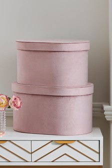 Set of 2 Curved Velour Storage Boxes