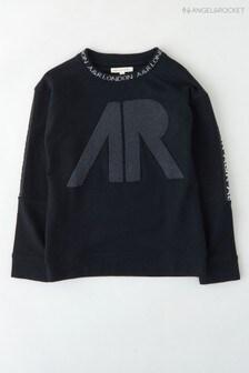 Angel & Rocket Black Graphic Sweat Top