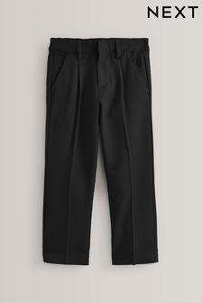 Black Slim Waist Pleat Front Trousers (3-16yrs)
