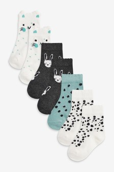 Monochrome Bunny 7 Pack Socks (Younger)