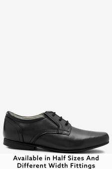 Black Wide Fit Leather Formal Lace-Up Shoes (Older)