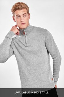 Light Grey Cotton Premium Zip Neck Jumper