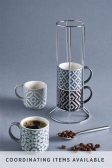Geo Set of 4 Stacking Espresso Mugs Embossed