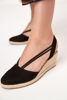 Black Closed Toe Espadrille Low Wedges