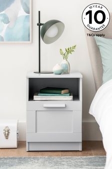 Grey Flynn 1 Drawer Bedside Table