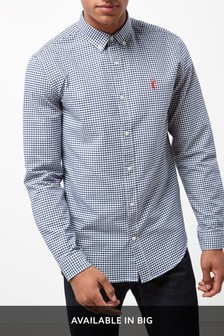 Navy/White   Long Sleeve Gingham Check Shirt