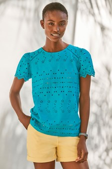 Teal Broderie T-Shirt