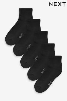 Black Mid Cut Sports Socks Five Pack
