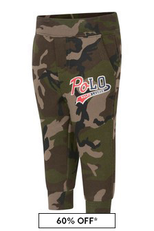 Boys Green Camouflage Cotton Logo Joggers