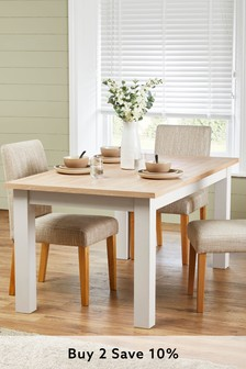 Cream Malvern 6-10 Seater Double Extending Dining Table