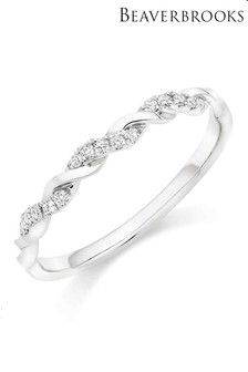 Beaverbrooks Platinum Diamond Twist Wedding Ring
