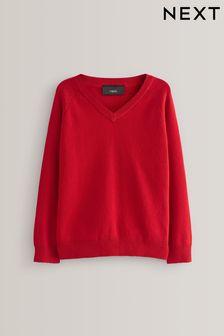 Red Knitted V-Neck Jumper (3-18yrs)