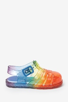 Rainbow Glitter Cushioned Footbed Jelly Sandals
