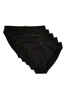 Black High Leg Cotton Knickers 5 Pack