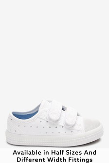 White Spot Wide Fit (G) Canvas Bumper Toe Trainers (Younger)