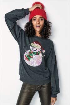 Grey Snowman  Womens Christmas Sweater