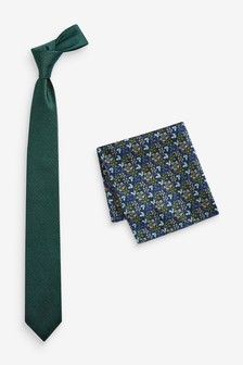 Green Tie And Floral Pocket Square Set