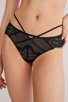Black Thong Lace Knickers