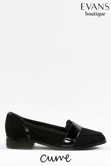 Evans Curve Black Patent Mix Loafers