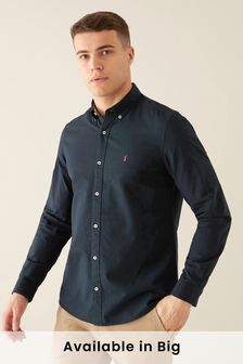 Navy Slim Fit Long Sleeve Stretch Oxford Shirt