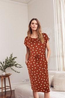 Tan Spot Jersey Dress