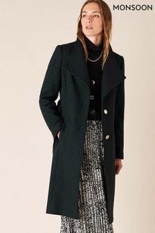 Monsoon Green Ruby Workwear Long Coat