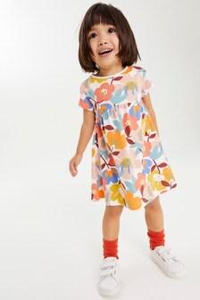 Retro Floral GOTS Organic Jersey Dress (3mths-7yrs)