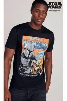 Black Mandalorian TV And Film Licence T-Shirt