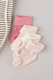 Pink/Ecru 4 Pack Roll Top Socks (Younger)