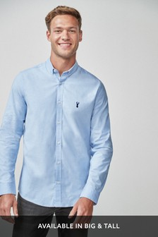 Light Blue Slim Fit Long Sleeve Stretch Oxford Shirt