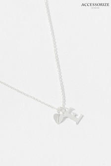 Accessorize Sterling Silver Heart Initial Necklace - E